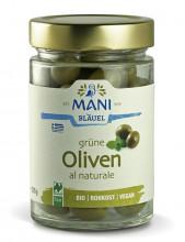 Mani-Bläuel, grüne Oliven al naturale, 205g Glas