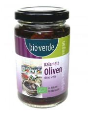 bio verde, Schwarze Kalamata Oliven ohne Stein, 200g Glas
