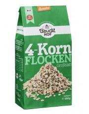 Bauckhof, 4-Korn Flocken, ohne Weizen, demeter, 500g Packung