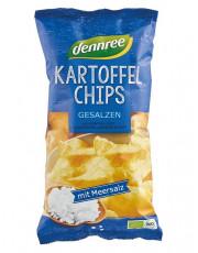 dennree, Kartoffelchips mit Meersalz, 125g Packung