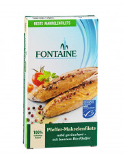 Fontaine, Pfeffer-Makrelenfilets, mild geräuchert, in Sonnenblumenöl, 190g Dose (130g)
