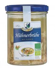 Kiebitzhof, Hühnerbrühe mit Fleisch, 380g Glas