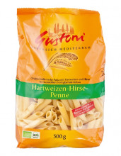 Gustoni, Hartweizen-Hirse Penne, bronze, 500g Packung