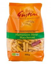 Gustoni, Hartweizen-Hirse Maccheroni, bronze, 500g Packung