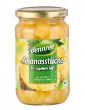 dennree, Ananas Stücke im eigenen Saft, 350g Glas