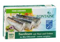 Fontaine, Sardinen, mit Haut und Gräten, in Olivenöl, 120g Dose (85g)