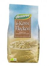 dennree, 6-Korn-Flocken, 500g Packung