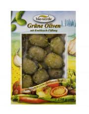 bio-verde, Grüne Oliven mit Knoblauchfüllung, nicht erhitzt, 150g Schale
