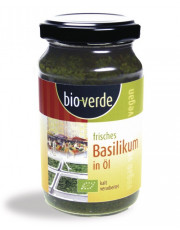 bio verde, Frisches Basilikum in Öl, 165g Glas