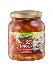 dennree, Weiße Bohnen in Tomatensauce, 350g Glas