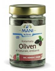 Mani-Bläuel, Kalamata Oliven al naturale, entkernt, 175g Glas