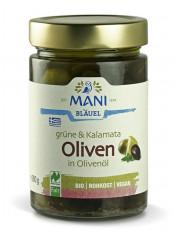 Mani-Bläuel, grüne & Kalamata Oliven in Olivenöl, 280g Glas