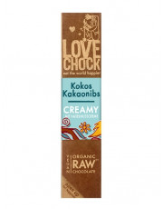 Lovechock, 100% Rohkost Chocolate Kokos Kakaonibs Creamy, 40g Stück