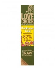 Lovechock, 100% Rohkost Chocolate Kurkuma Tulsi, Zartbitter, 40g Stück