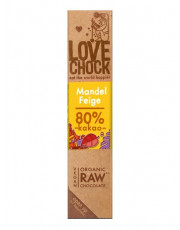 Lovechock, 100% Rohkost Chocolate Mandel Feige, Zartbitter, 40g Stück