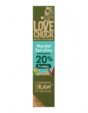 Lovechock, 100% Rohkost Chocolate Mandel Spirulina, Zartbitter, 40g Stück