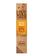 Lovechock, 100% Rohkost Chocolate Pecan Maca, Zartbitter, 40g Stück