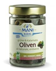 Mani-Bläuel, grüne & Kalamata Oliven al naturale, entkernt, 175g Glas